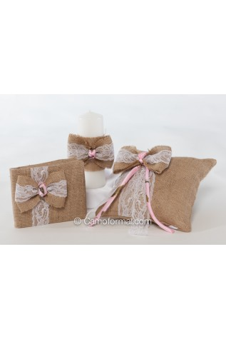 Set of 3 items - purchased separately -Burlap Tiny Rose and Lace Pillow