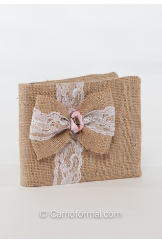 Available: Burlap Tiny Rose and Lace Guest Book