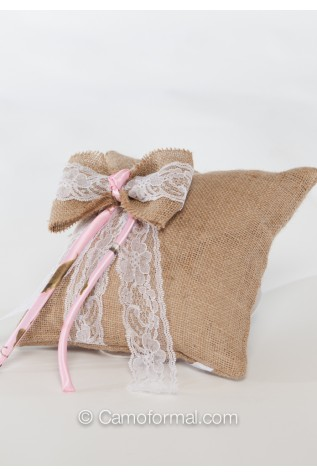 This item: Burlap Tiny Rose and Lace Pillow