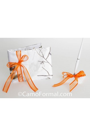 Guest Book and Pen Set - shown in True Timber Snowfall and Orange Ribbon