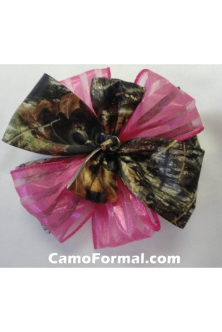 Camo and Organza Ribbon - Fuschia