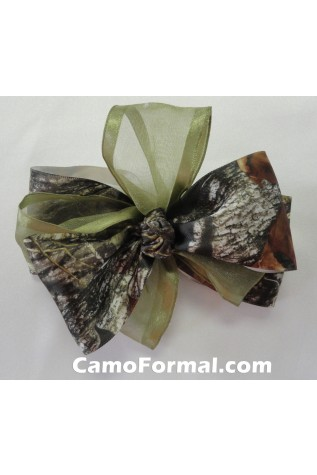Camo and Organza Ribbon - Sage