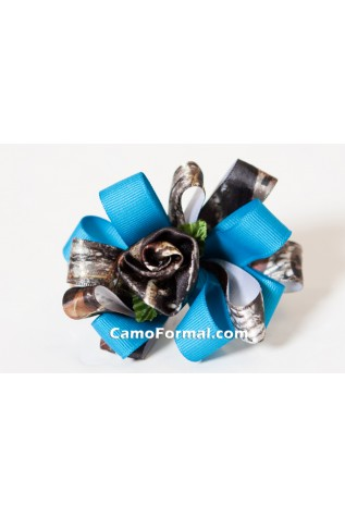 Camo Rose and Ribbon Hair Barette