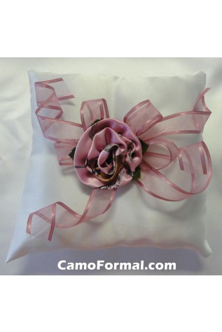 Roses and Ribbon Pillow in Pink