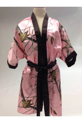 Camo Satin Robe with Contrasting Trim and Sash