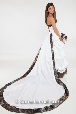 Detachable Train, accented with Camo, can be added to any dress