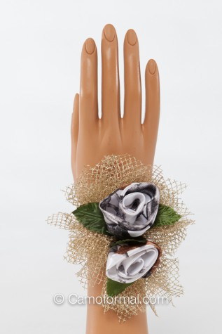 Small Camo and Mesh Corsage - available in any camo with Silver or Gold Mesh