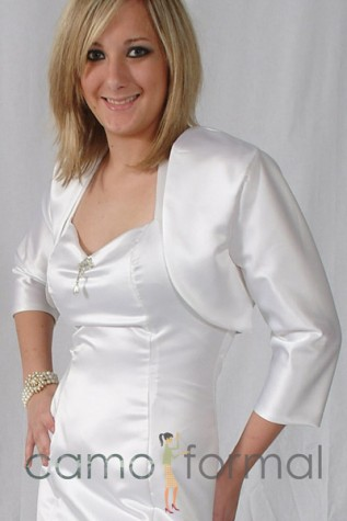 "Jacket ""Matte Satin"" Bolero with 3/4 Sleeve"