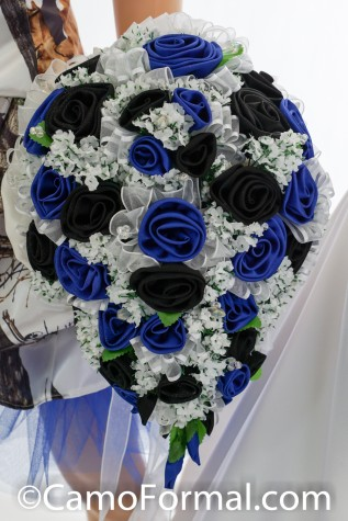 Royal and Black Satin Rose Bridal Bouquet with White Surround