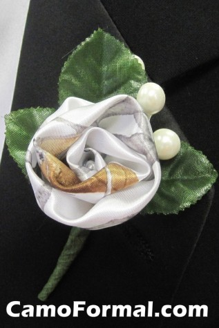 Camouflage Boutonniere  White Snowfall True Timber and Pearls
