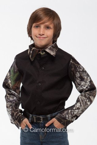 Boys 2 Color Camp Shirt - Mossy Oak and Black