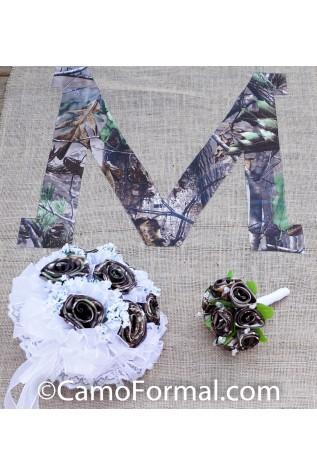 Camo and Burlap Aisle Runner - One letter included - Bouquets sold separately