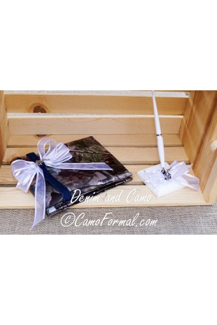 Guest Book and Pen Set - with Guns and Roses Charm
