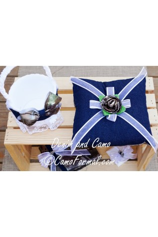 Denim and Camo Flowergirl Basket and Ring-bearer Pillow Set