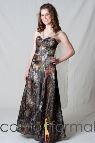 Aline in Mossy Oak with Champagne Chiffon Drape