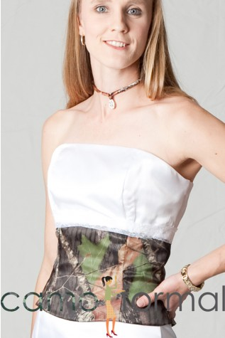 Strapless top with camo lower bodice-lace trimmed