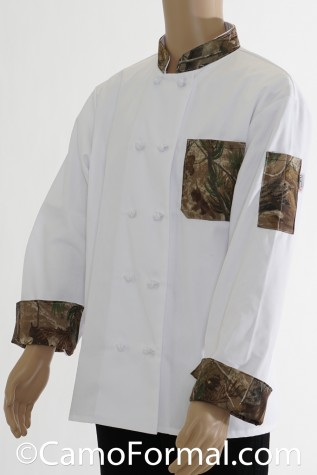 Side View: Chef Jacket with APG Realtree Camo Trim