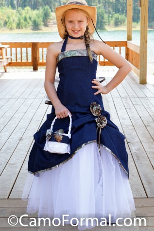 Denim and Camo 3011fg flower-girl dress and basket
