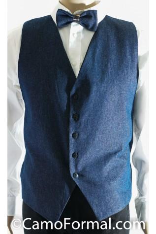 Men's Denim and Camo Vest - Bow Tie