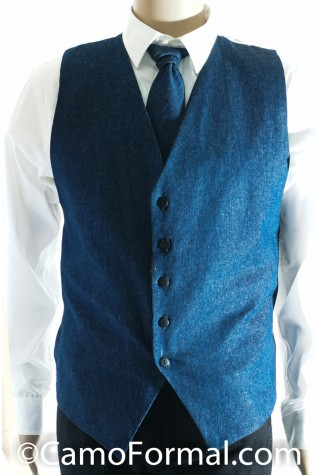 Men's Denim and Camo Vest - Long Tie