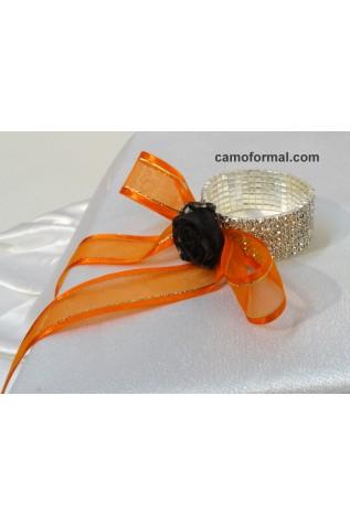 Rhinestone Cuff Bracelet with Mossy Oak Rose and Orange Ribbon