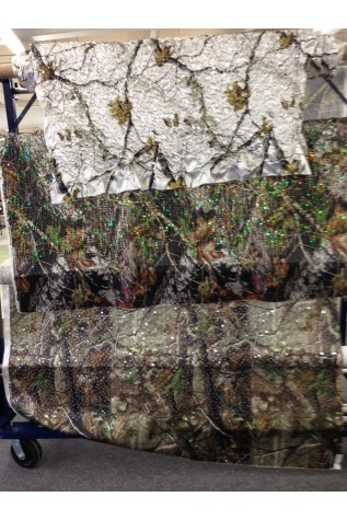 AP Snow  with Puffed Sequin and  Mossy Oak New Breakup with Green and Blue Dangle Sequin. and APG Realtree with Mirror Sequins