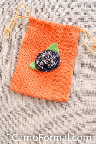 Burlap and Camo Rose Favor Bag