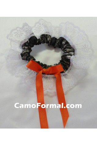 Mossy Oak with Orange Ribbon and White Lace