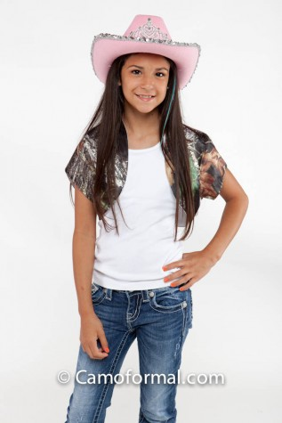 Girl's camo boloro short sleeve jacket