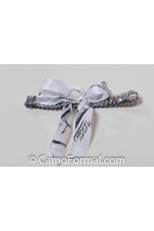 Silver or Gold Sequin with Camo DUCK, SNOW, or WOOD Ribbon