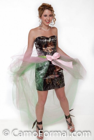 8076 with long tulle over-skirt shown in LIME sequin and lime and pink tulle