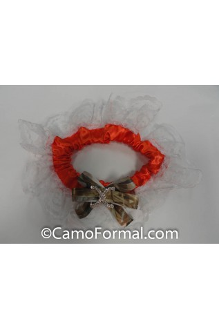 Orange Garter with Rhinestone Ornament and DUCK Ribbon