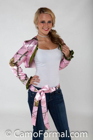 Lg Slv Bolero Jacket and Sash with Olivino Contrast