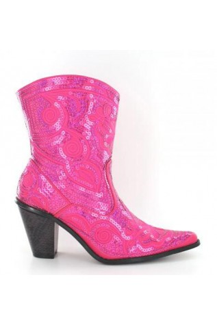 Short Bling Boots - fuchsia