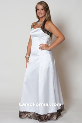 3352 AnnaMarie in White Satin and Realtree APG