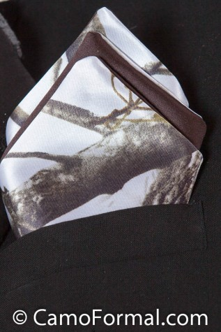 Men's Pocket Square - Side one is Realtree AP SNOW and side 2 is Mocha