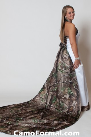 3352 AnnaMarie in White Satin and Realtree APG with added Roses Detachable train