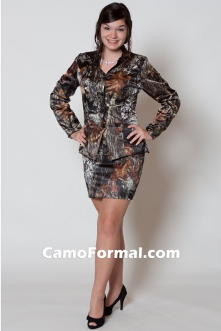 2 pc suit shown in Mossy Oak New Breakup, longer skirt lengths availalbe