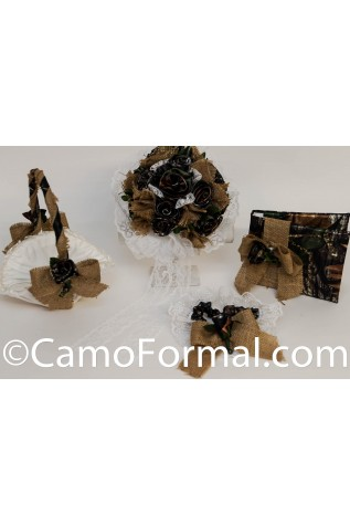 4pc Camo and Burlap Collection, Bouquet, Basket, Garter, Guest Book