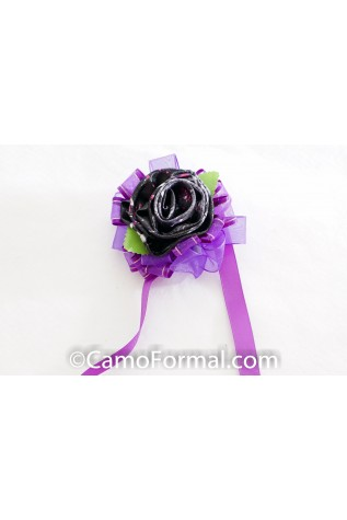 Muddy Girl Moon Shine 1 Rose corsage with purple ribbon