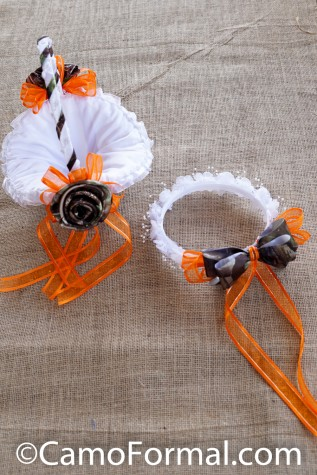 Flower-girl Camo and Lace Basket and Hair Wreath