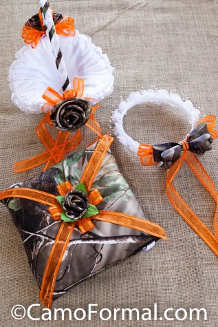 Ringbearer Pillow and Flower-girl wreath and basket - shown in Realtree APG and Hunter's Orange