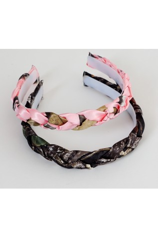 Braided Camo Headband shown in Realtree APPINK and Mossy Oak New Breakup