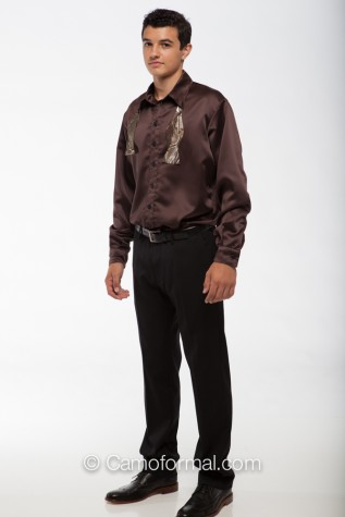 Mocha Satin Shirt, Long Sleeves with Self Tie Bow Tie