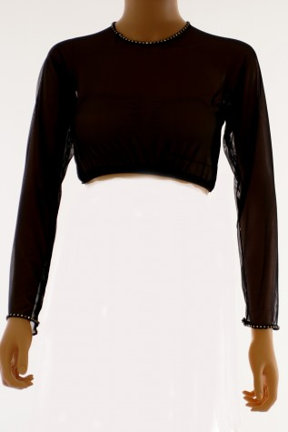 Front: Sheer Long Sleeve Mesh Camisole - Designed to be worn with a separately purchased dress.