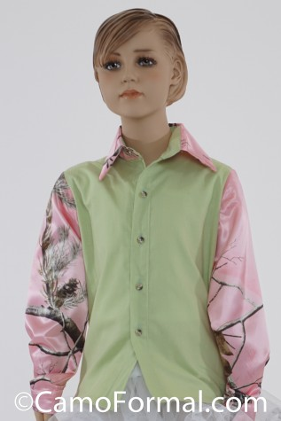 Girls Prairie Shirt shown in Honeydew and Realtree AP PINK