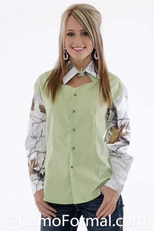 Prairie Shirt shown in Honeydew and Realtree APSNOW