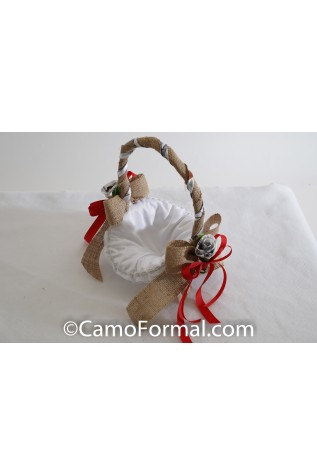 Flower-girl Basket with Burlap White Snowfal True Timber and Red Ribbon