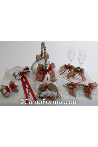 6 Piece Camo, Burlap and Ribbon Bow Collection