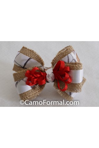 Camo, Burlap and Ribbon Hair Bow
